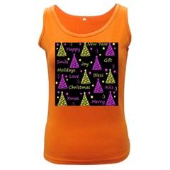 New Year Pattern   Yellow And Purple Women s Dark Tank Top