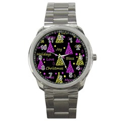 New Year Pattern   Yellow And Purple Sport Metal Watch