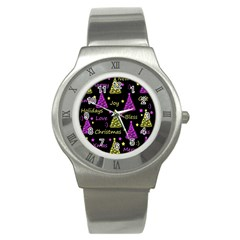 New Year Pattern   Yellow And Purple Stainless Steel Watch