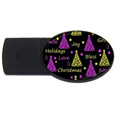 New Year Pattern   Yellow And Purple Usb Flash Drive Oval (4 Gb)