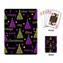New Year Pattern   Yellow And Purple Playing Card