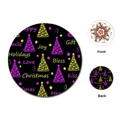 New Year Pattern   Yellow And Purple Playing Cards (round)