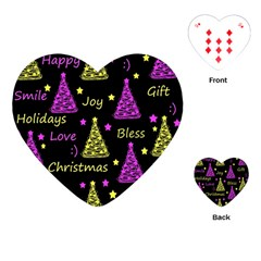 New Year Pattern   Yellow And Purple Playing Cards (heart)