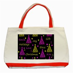 New Year Pattern   Yellow And Purple Classic Tote Bag (red)
