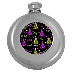 New Year Pattern   Yellow And Purple Round Hip Flask (5 Oz)