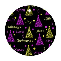 New Year Pattern   Yellow And Purple Round Ornament (two Sides)