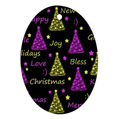 New Year Pattern   Yellow And Purple Oval Ornament (two Sides)