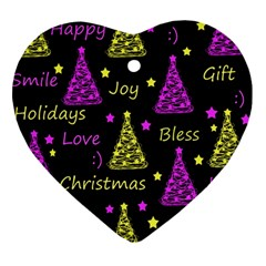 New Year Pattern   Yellow And Purple Heart Ornament (2 Sides)