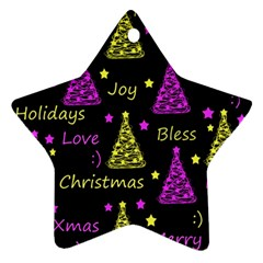 New Year Pattern   Yellow And Purple Star Ornament (two Sides)
