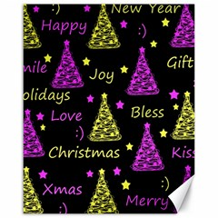 New Year Pattern   Yellow And Purple Canvas 16  X 20