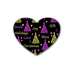 New Year Pattern   Yellow And Purple Rubber Coaster (heart)