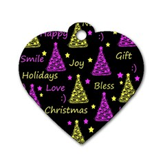 New Year Pattern   Yellow And Purple Dog Tag Heart (two Sides)
