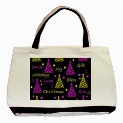New Year Pattern   Yellow And Purple Basic Tote Bag (two Sides)