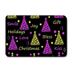 New Year Pattern   Yellow And Purple Small Doormat
