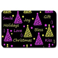 New Year Pattern   Yellow And Purple Large Doormat