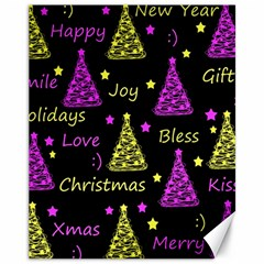 New Year Pattern   Yellow And Purple Canvas 11  X 14