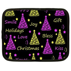 New Year Pattern   Yellow And Purple Netbook Case (large)