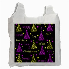 New Year Pattern   Yellow And Purple Recycle Bag (two Side)