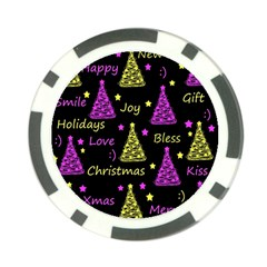 New Year Pattern   Yellow And Purple Poker Chip Card Guards (10 Pack)