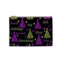 New Year pattern - Yellow and purple Cosmetic Bag (Medium)