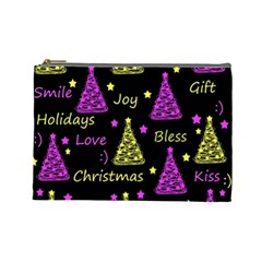 New Year Pattern   Yellow And Purple Cosmetic Bag (large)