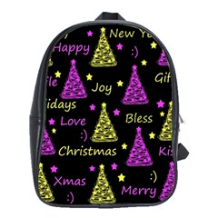 New Year Pattern   Yellow And Purple School Bags(large)