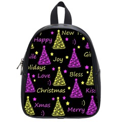 New Year Pattern   Yellow And Purple School Bags (small)