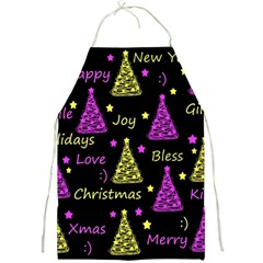 New Year Pattern   Yellow And Purple Full Print Aprons