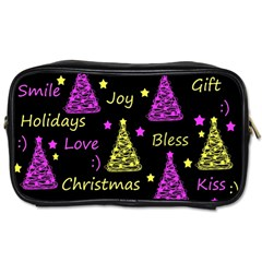 New Year Pattern   Yellow And Purple Toiletries Bags