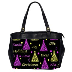 New Year Pattern   Yellow And Purple Office Handbags (2 Sides)