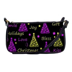 New Year pattern - Yellow and purple Shoulder Clutch Bags
