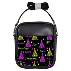 New Year Pattern   Yellow And Purple Girls Sling Bags