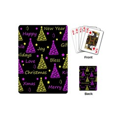 New Year Pattern   Yellow And Purple Playing Cards (mini)