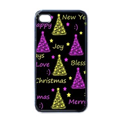 New Year Pattern   Yellow And Purple Apple Iphone 4 Case (black)