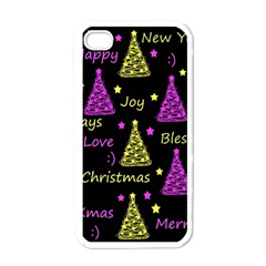 New Year Pattern   Yellow And Purple Apple Iphone 4 Case (white)