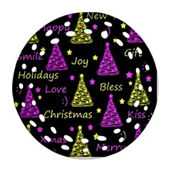 New Year Pattern   Yellow And Purple Ornament (round Filigree)