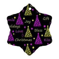 New Year Pattern   Yellow And Purple Snowflake Ornament (2 Side)
