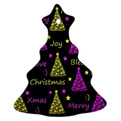 New Year Pattern   Yellow And Purple Christmas Tree Ornament (2 Sides)