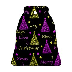 New Year Pattern   Yellow And Purple Bell Ornament (2 Sides)