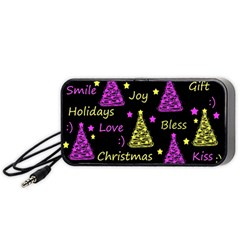 New Year Pattern   Yellow And Purple Portable Speaker (black)