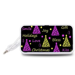 New Year Pattern   Yellow And Purple Portable Speaker (white)