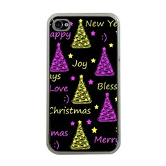 New Year Pattern   Yellow And Purple Apple Iphone 4 Case (clear)