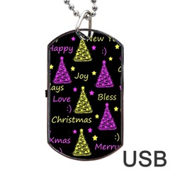 New Year Pattern   Yellow And Purple Dog Tag Usb Flash (one Side)