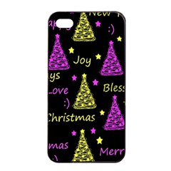 New Year Pattern   Yellow And Purple Apple Iphone 4/4s Seamless Case (black)