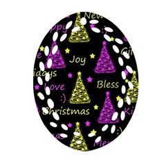 New Year Pattern   Yellow And Purple Oval Filigree Ornament (2 Side)