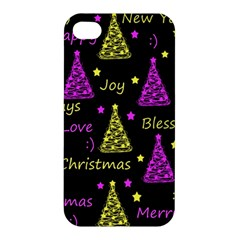 New Year Pattern   Yellow And Purple Apple Iphone 4/4s Hardshell Case