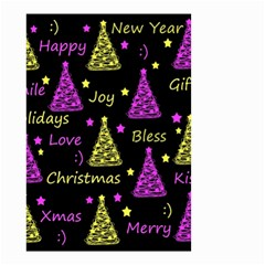 New Year Pattern   Yellow And Purple Small Garden Flag (two Sides)
