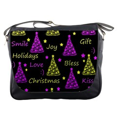New Year Pattern   Yellow And Purple Messenger Bags