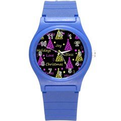 New Year Pattern   Yellow And Purple Round Plastic Sport Watch (s)