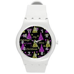 New Year Pattern   Yellow And Purple Round Plastic Sport Watch (m)